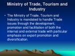 ministry of trade tourism and industry