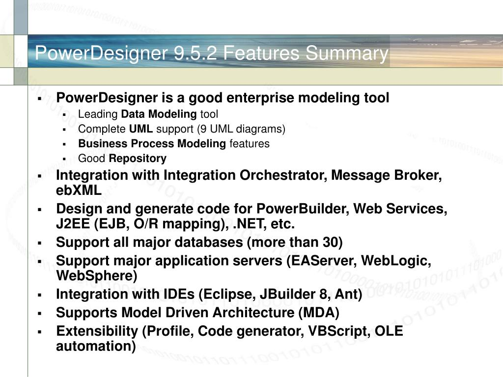 PowerDesigner 9.5.2 Features Summary