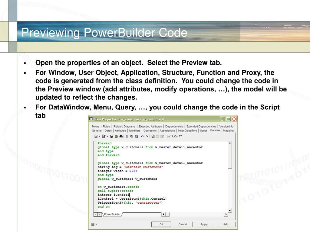 Previewing PowerBuilder Code