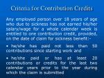 criteria for contribution credits