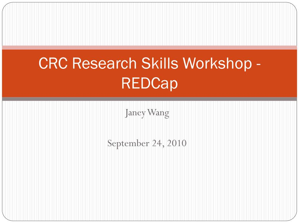 crc research skills workshop redcap