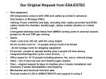 our original request from esa estec