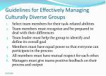 guidelines for effectively managing culturally diverse groups
