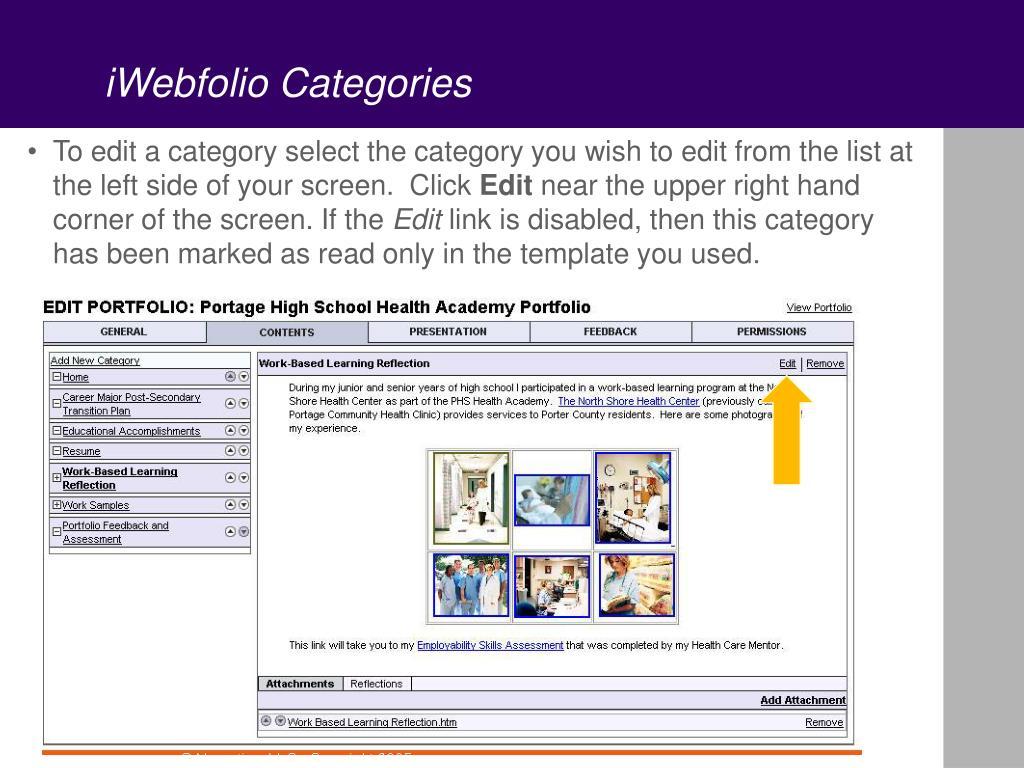 iWebfolio Categories