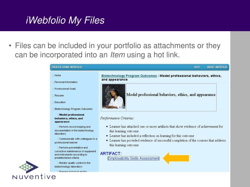 iWebfolio My Files