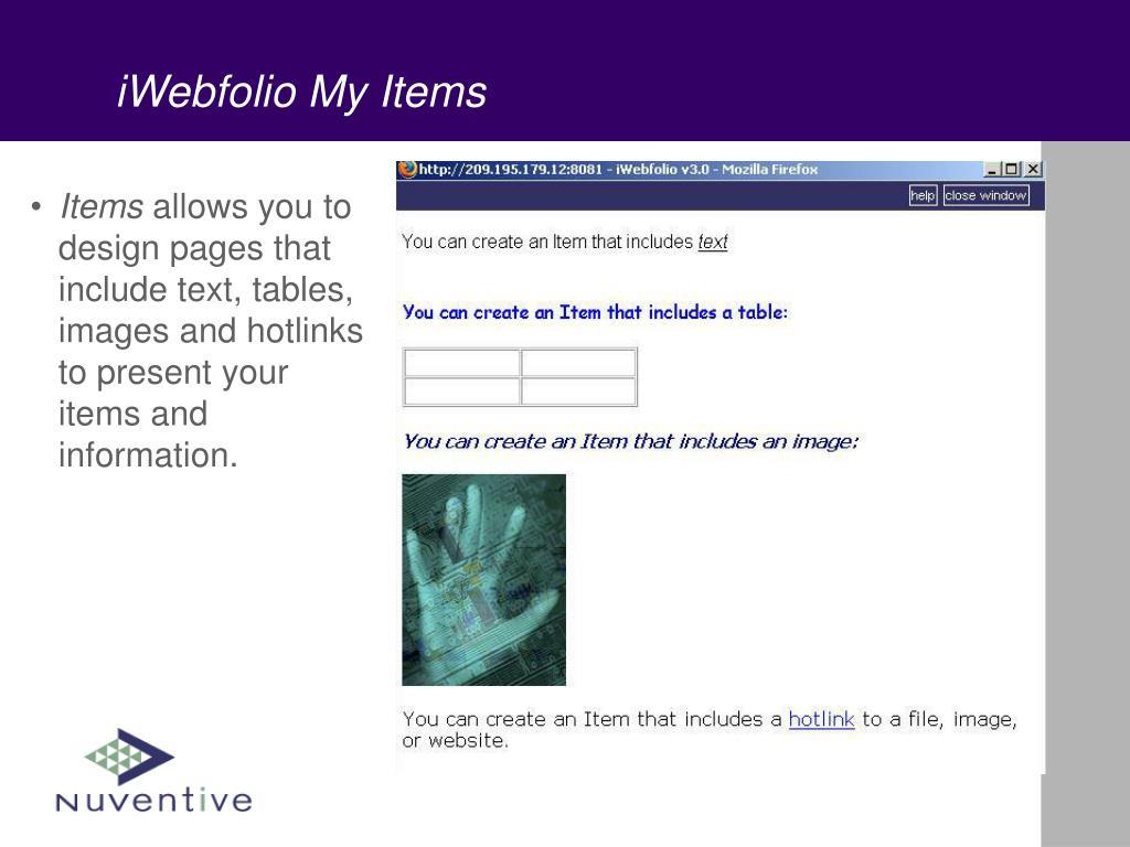 iWebfolio My Items