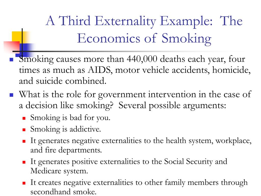A Third Externality Example:  The Economics of Smoking