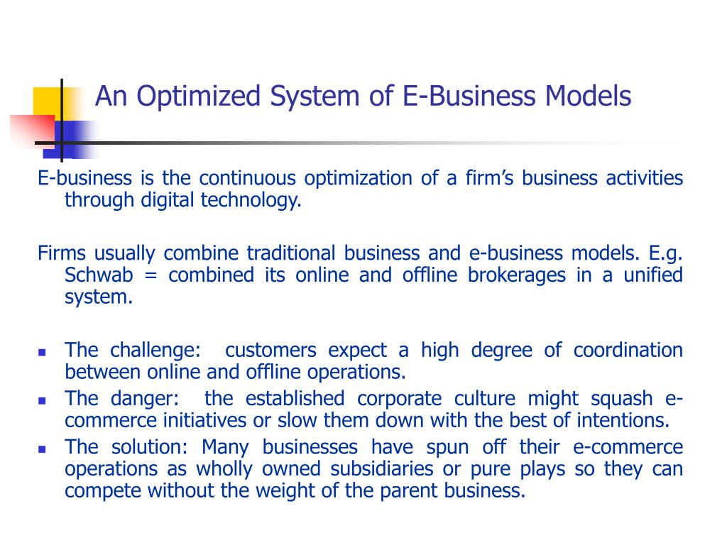 An Optimized System of E-Business Models