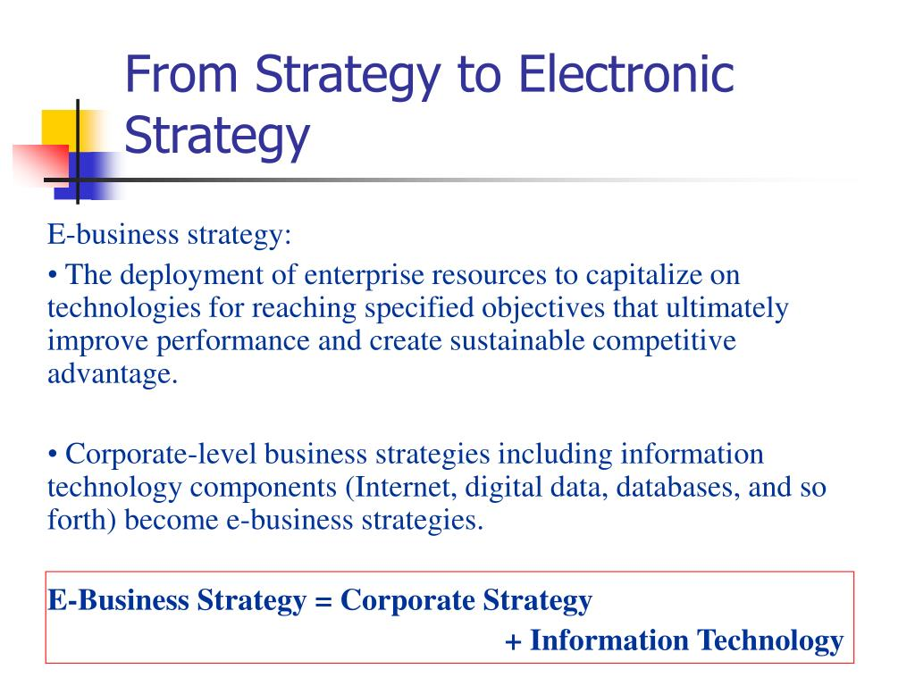 From Strategy to Electronic Strategy