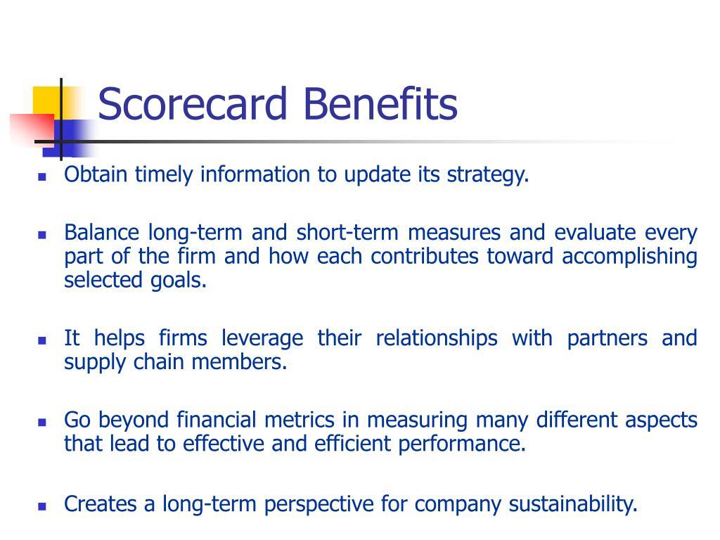 Scorecard Benefits
