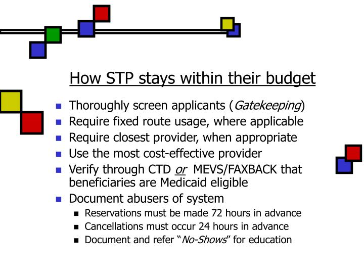 How STP stays within their budget