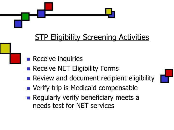 STP Eligibility Screening Activities
