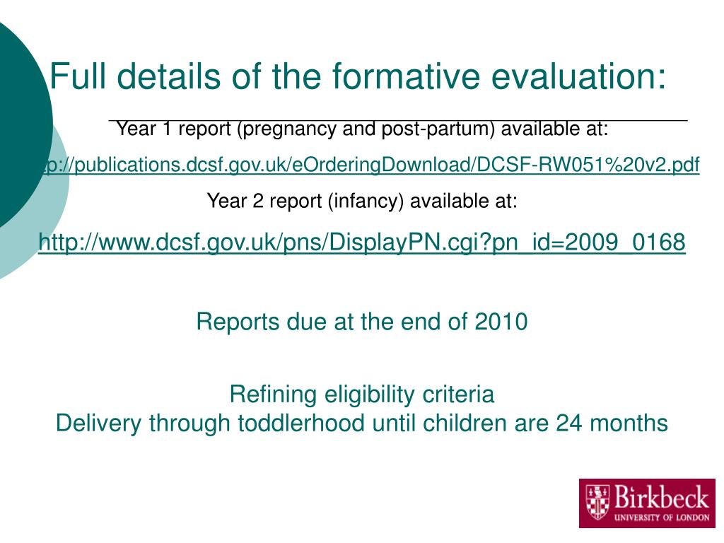 Full details of the formative evaluation: