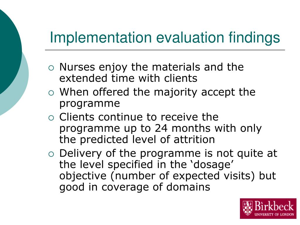 Implementation evaluation findings