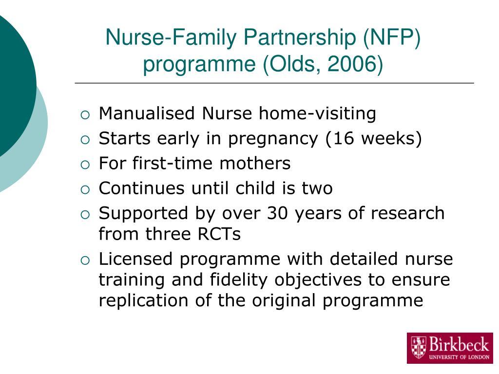 Nurse-Family Partnership (NFP) programme (Olds, 2006)