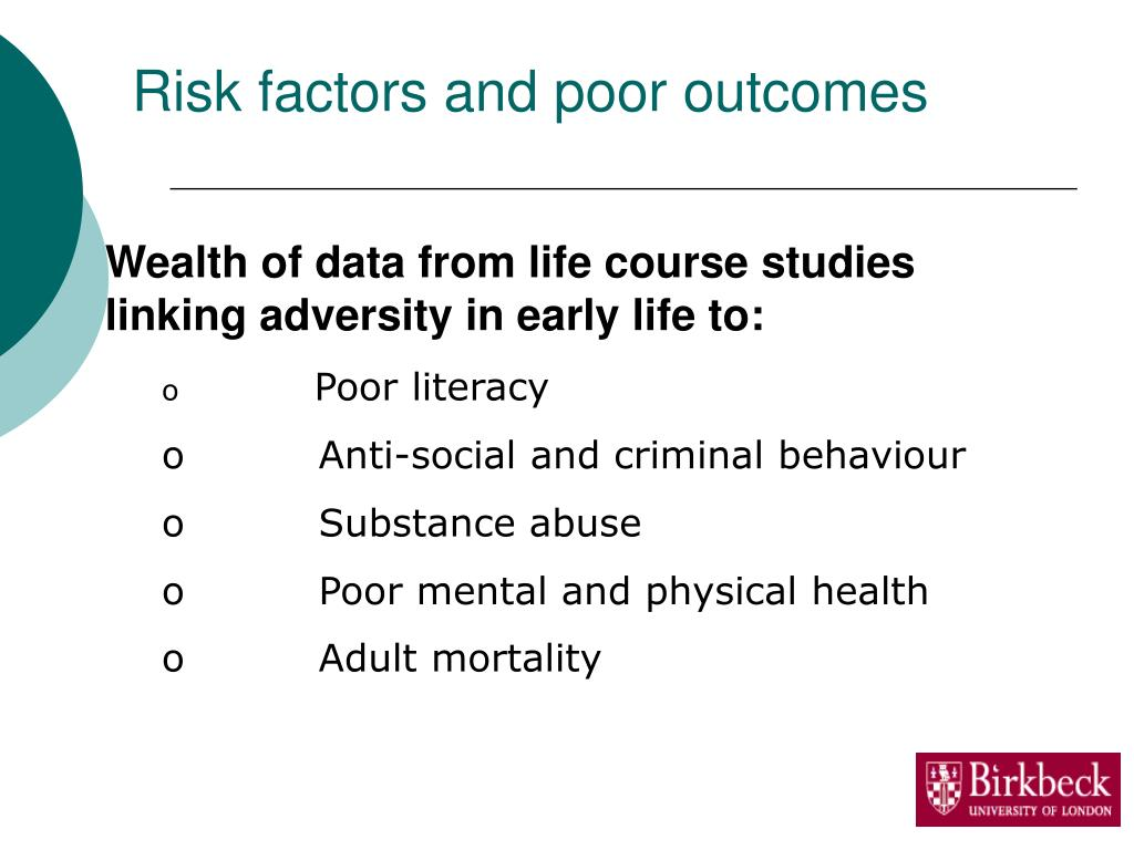 Risk factors and poor outcomes