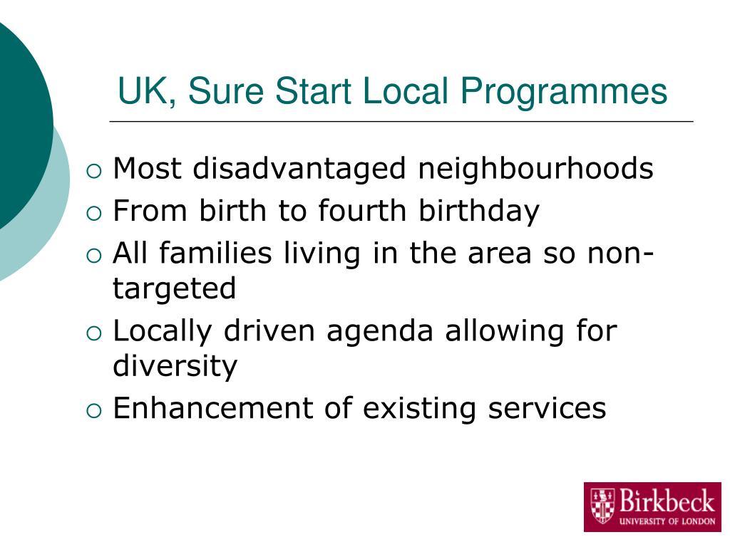 UK, Sure Start Local Programmes
