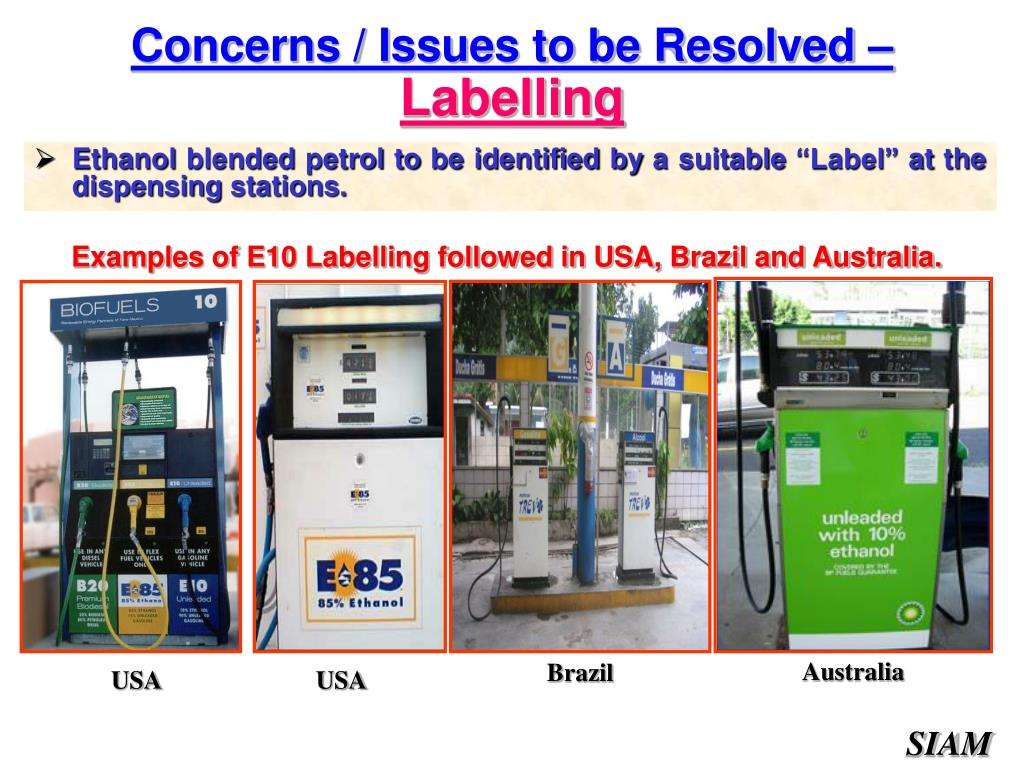 """Ethanol blended petrol to be identified by a suitable """"Label"""" at the dispensing stations."""