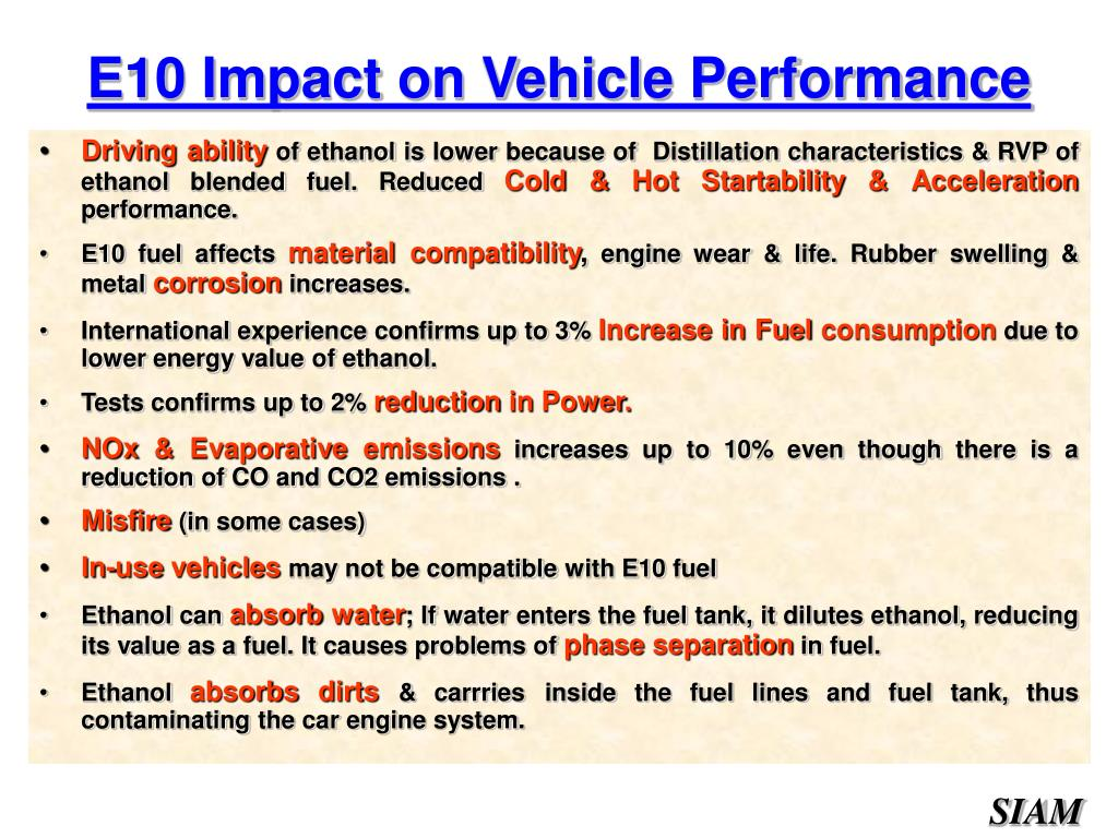E10 Impact on Vehicle Performance