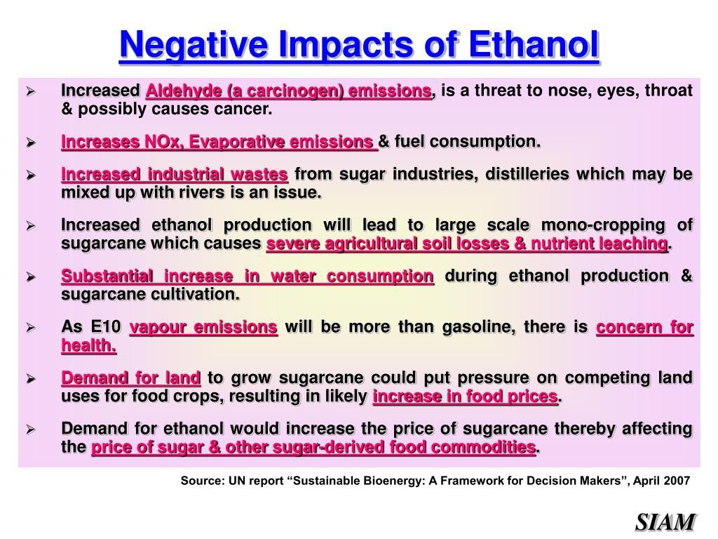 Negative Impacts of Ethanol