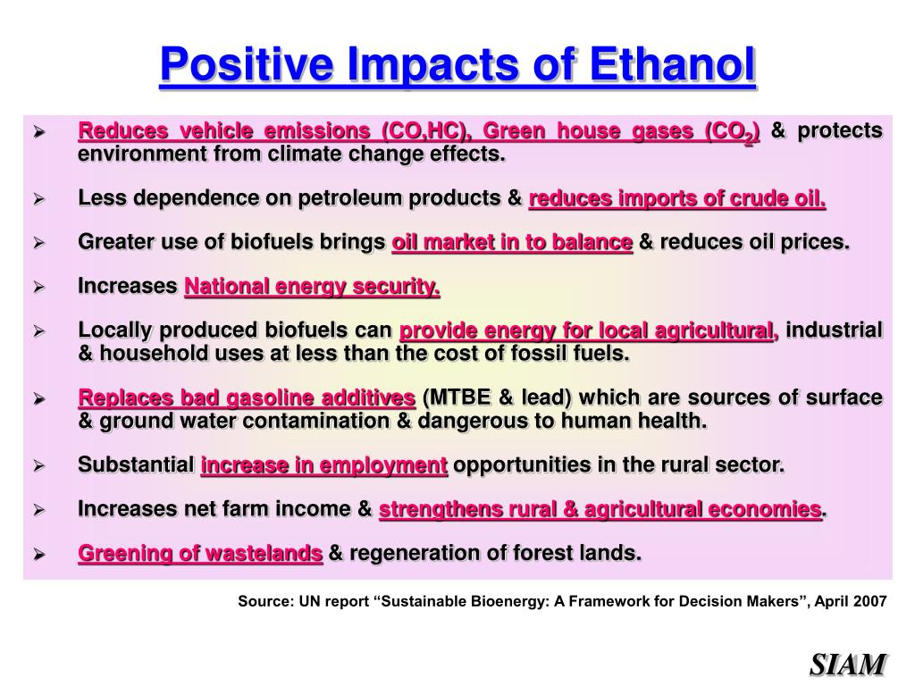 Positive Impacts of Ethanol