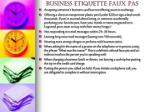 business etiquette faux pas