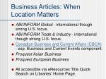 business articles when location matters