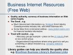 business internet resources free web