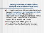 finding popular business articles example canadian periodical index