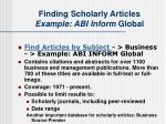 finding scholarly articles example abi inform global
