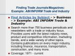 finding trade journals magazines example abi inform trade and industry