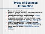 types of business information