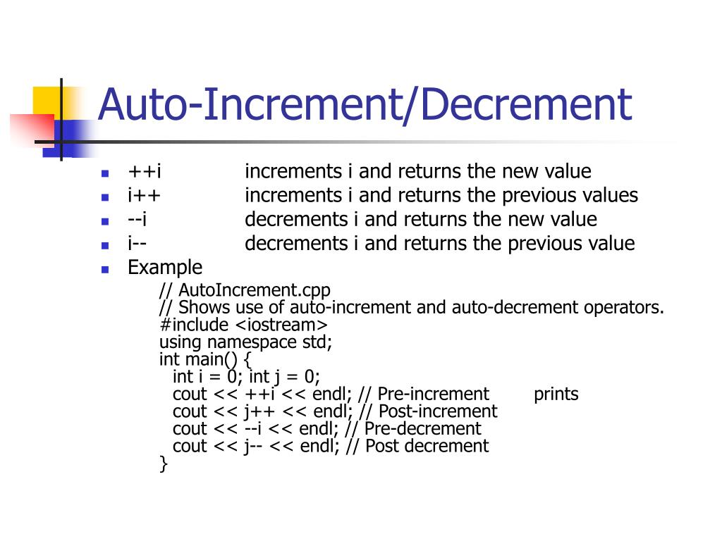 Auto-Increment/Decrement