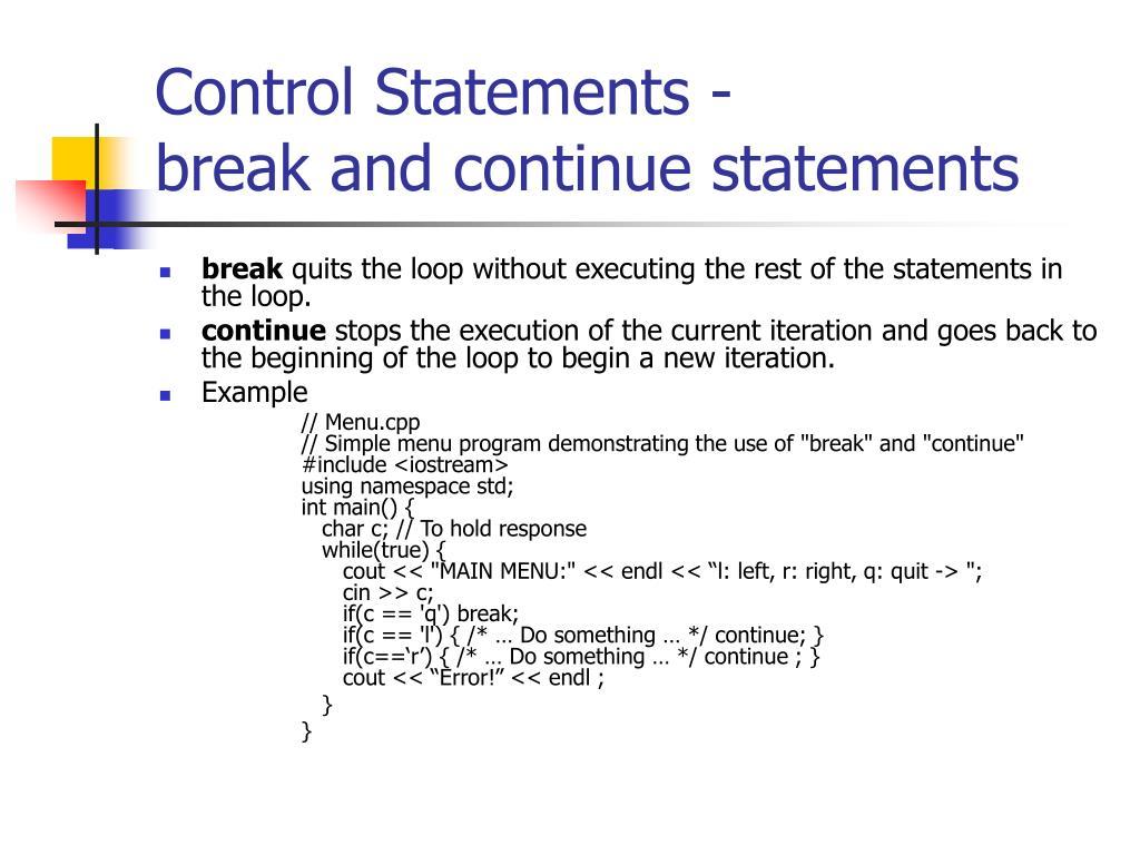 Control Statements -