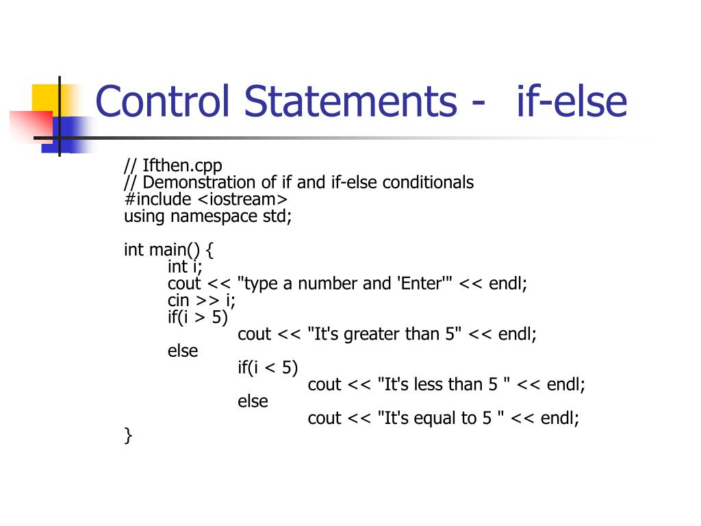 Control Statements -if-else