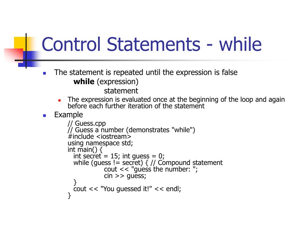Control Statements - while