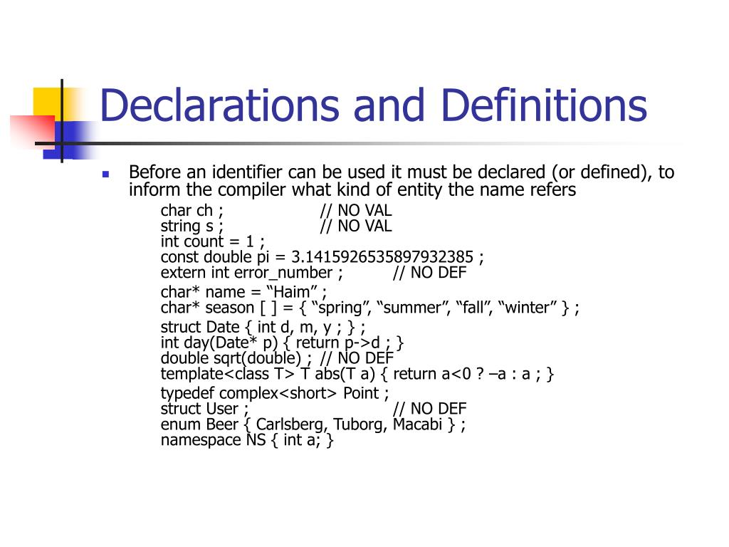 Declarations and Definitions