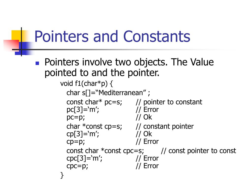 Pointers and Constants