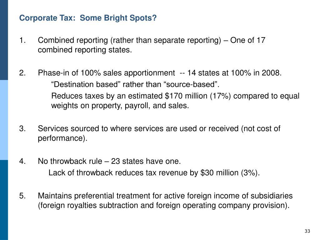 Corporate Tax:  Some Bright Spots?
