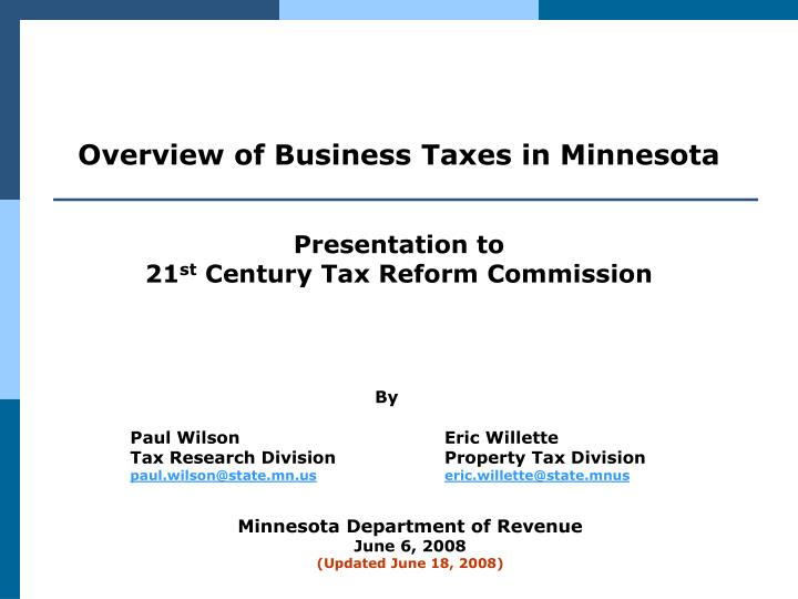 Overview of Business Taxes in Minnesota
