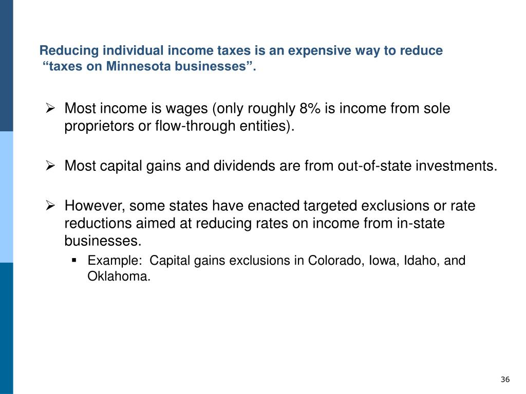 """Reducing individual income taxes is an expensive way to reduce """"taxes on Minnesota businesses""""."""