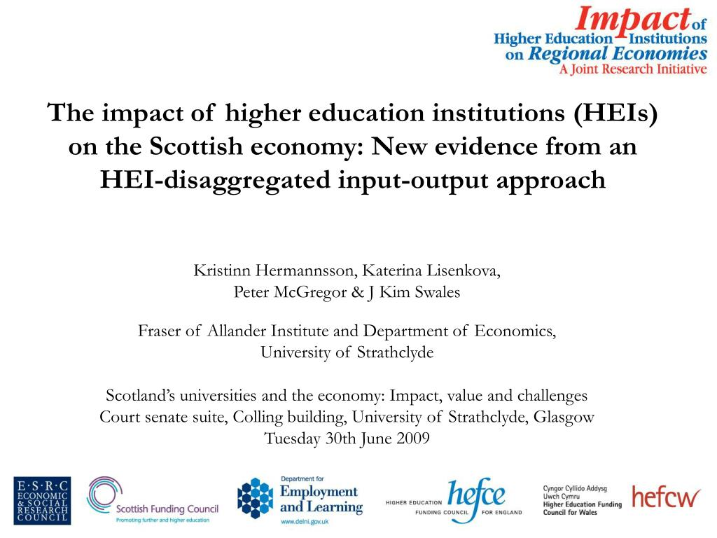 The impact of higher education institutions (HEIs) on the Scottish economy: New evidence from an HEI-disaggregated input-output approach