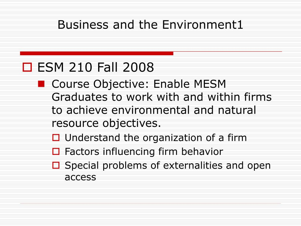 business and the environment1 l.