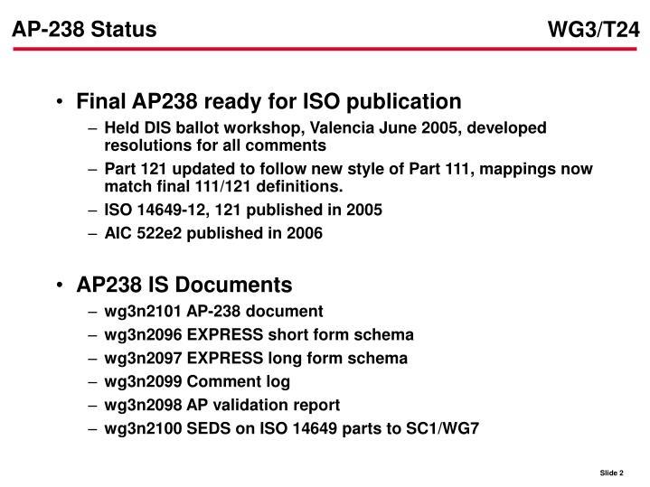 Ap 238 status