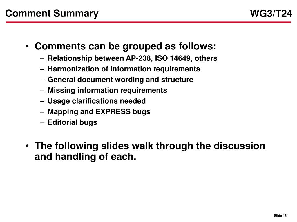 Comment Summary