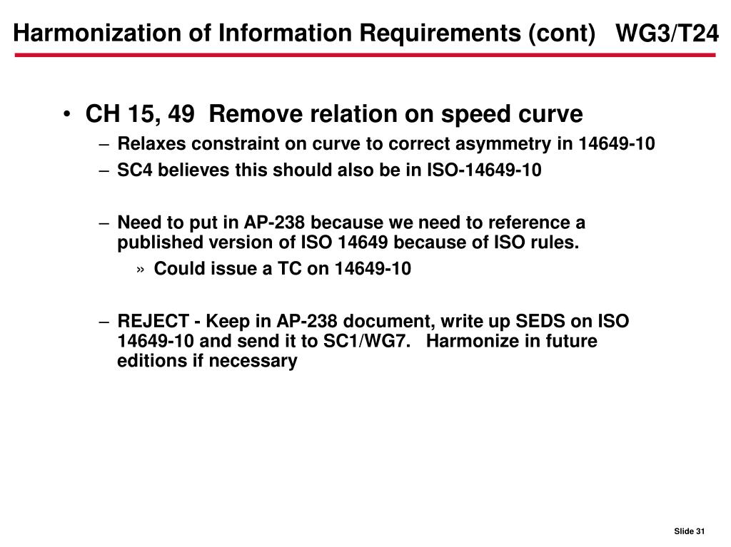 Harmonization of Information Requirements (cont)