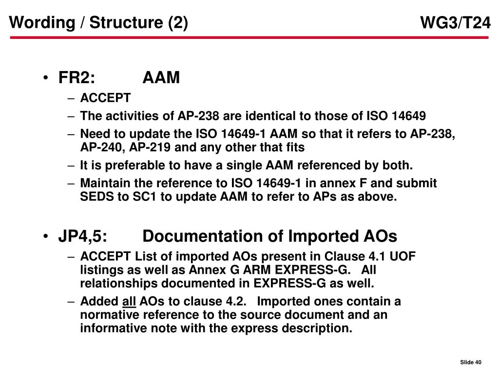 Wording / Structure (2)