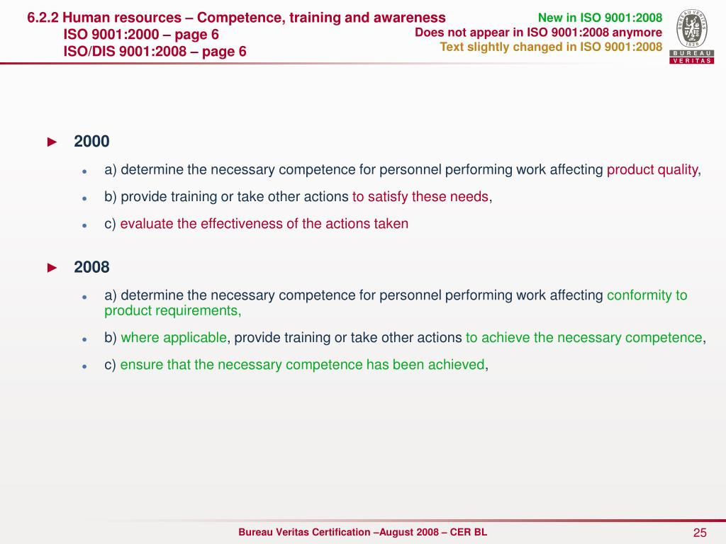 6.2.2 Human resources – Competence, training and awareness