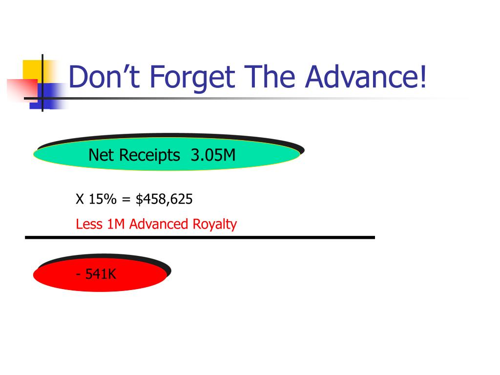 Don't Forget The Advance!