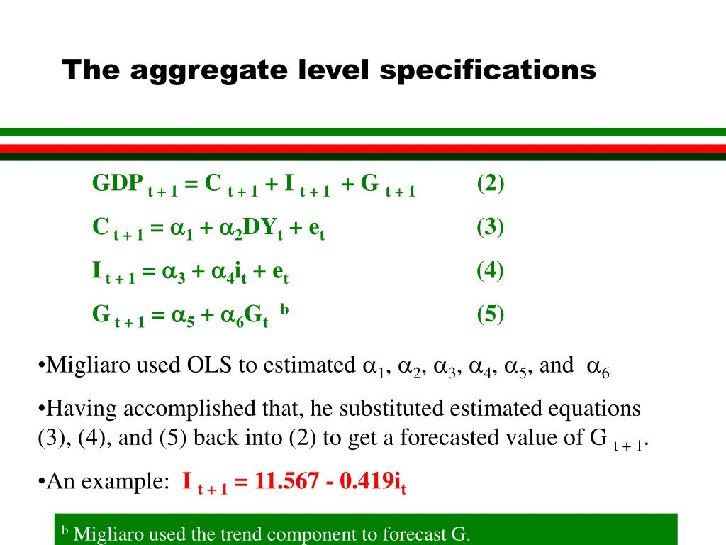 The aggregate level specifications